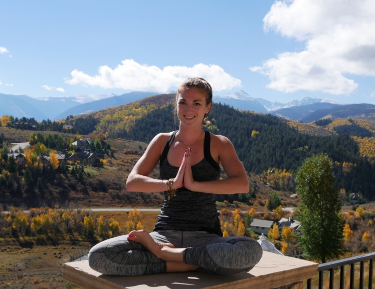 Yoga pose sukasana in Colorado in the fall