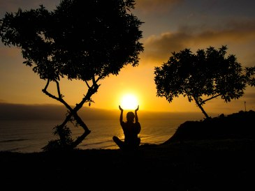 Travel Yoga Girl Sunset