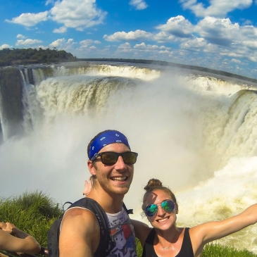 Travel Couple at Iguazu Falls in Brazil