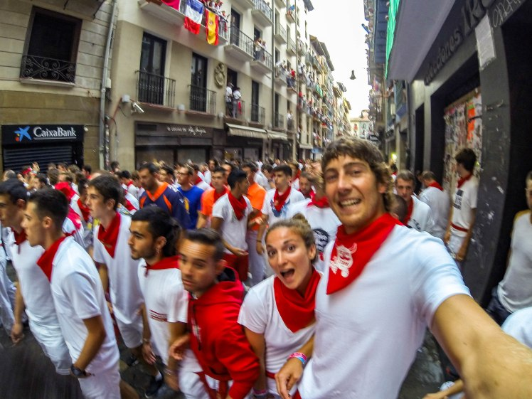 Running with the bulls in Pamplona, Spain