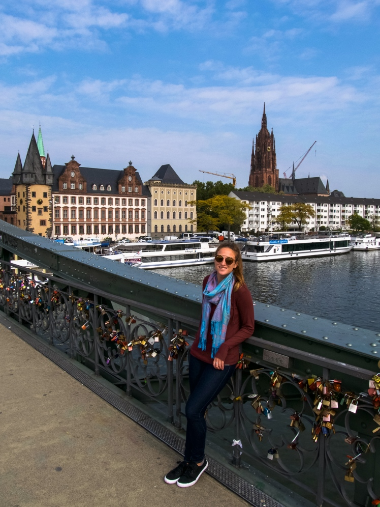 Girl on bridge in Frankfurt, Germany