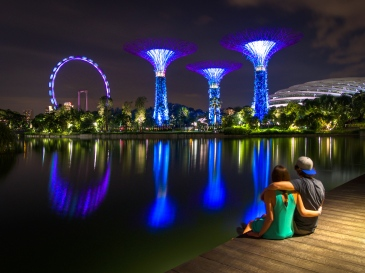 Travel couple in Singapore at Gardens by the Bay Supertree grove