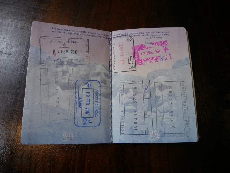 United States passport pages full with stamps