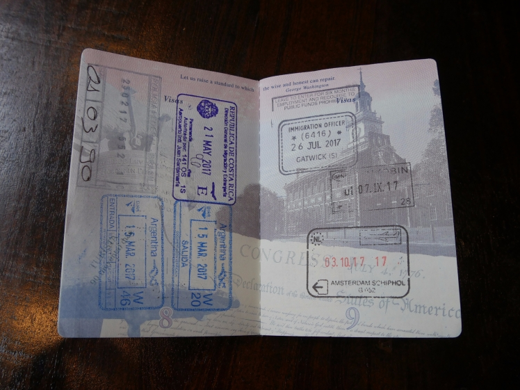 USA passport with international stamps
