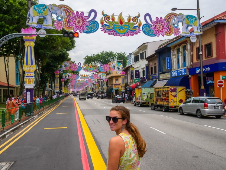 Travel girl in Little India, Singapore