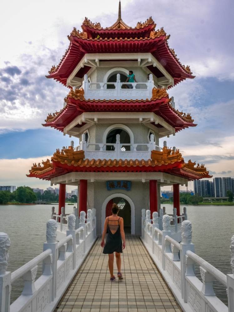 Travel girl at Chinese Gardens in Singapore