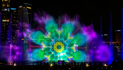 Spectra show from the viewing area in front of Marina Bay Sands Hotel