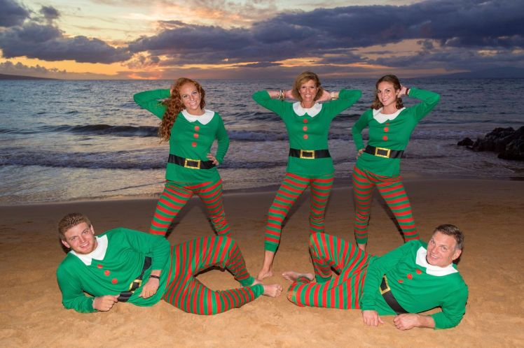 Family on beach in Elf Pajamas