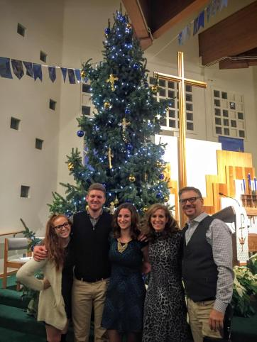Family at church on Christmas Eve