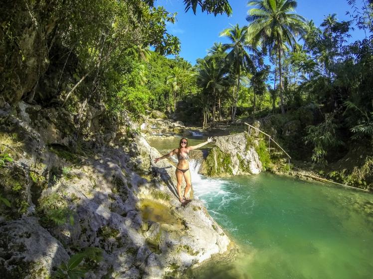 Empty level of waterfalls at Inambakan Falls