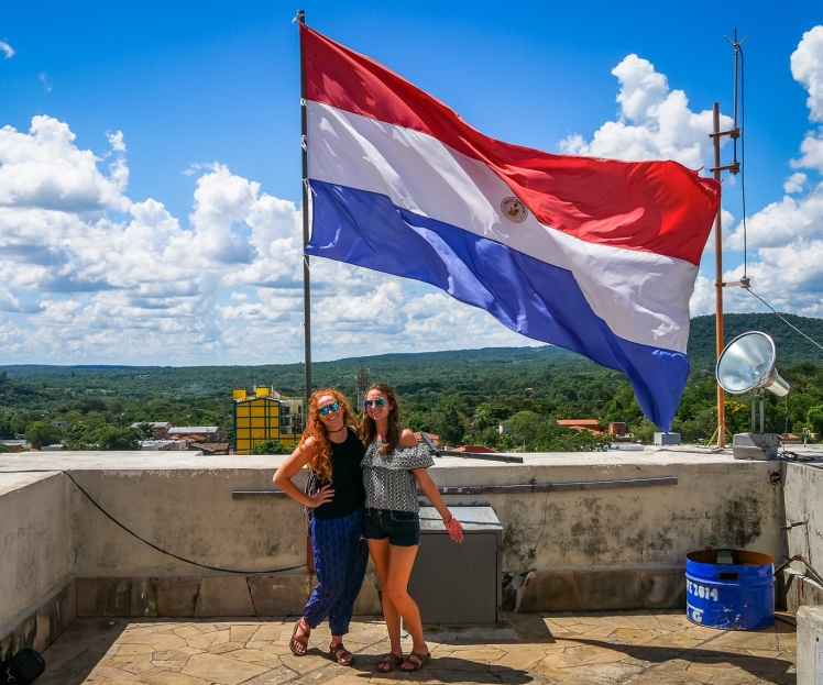 Sisters in Paraguay on the roof of a basilica in Caacupe