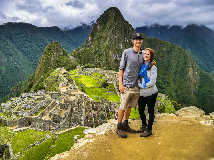 Travel couple at Machu Picchu