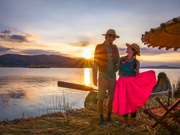 Floating island sunset Lake Titicaca Peru