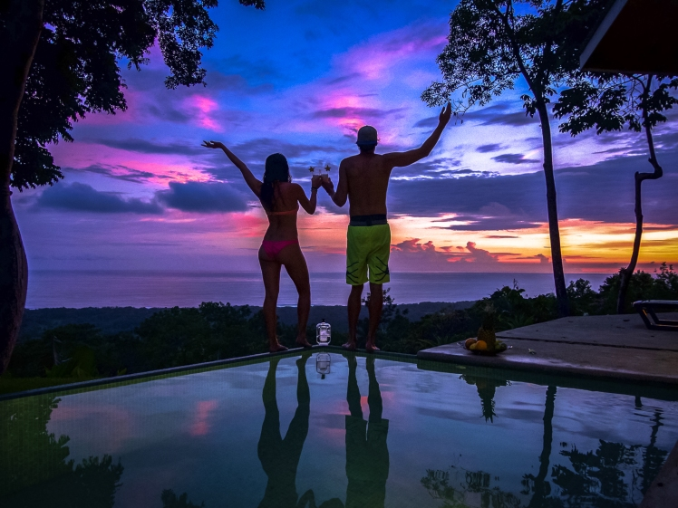 Infinity pool sunset in Costa Rica