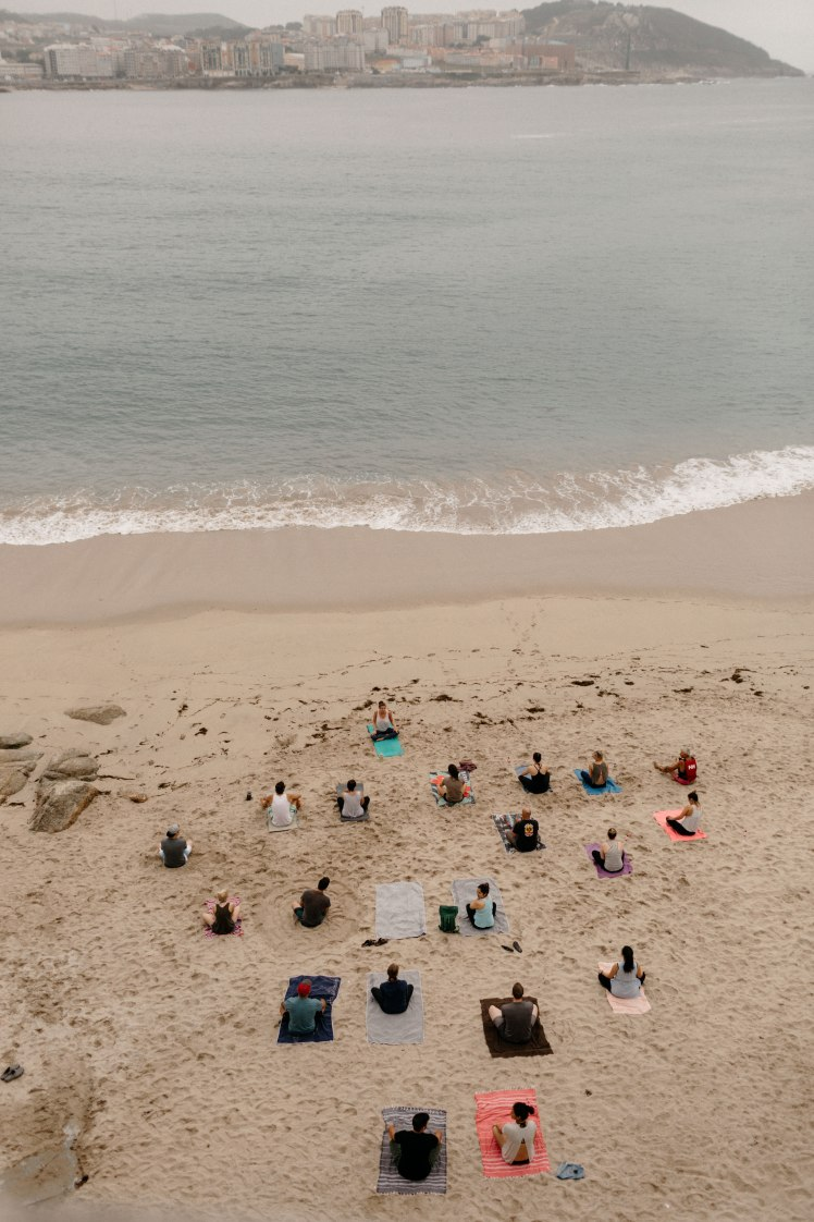 Yoga class on the beach