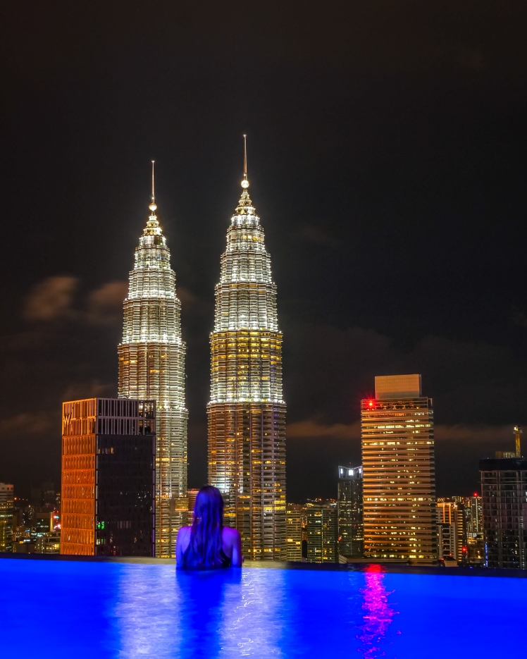 View of the Petronas Towers from The Face Suites rooftop pool