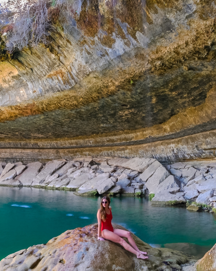 Travel girl Hamilton Pool Preserve