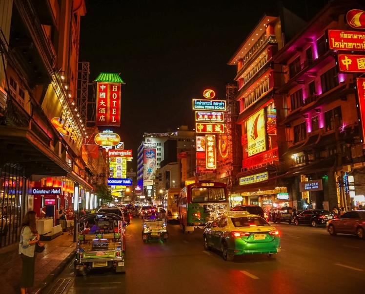 Tuk-tuks in the street in Chinatown in Bangkok