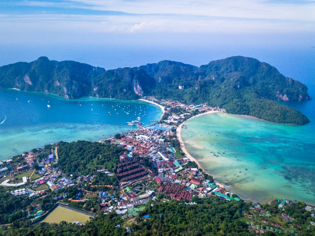 Koh Phi Phi Thailand drone shot