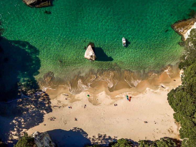 Drone shot of beach at Cathedral Cove