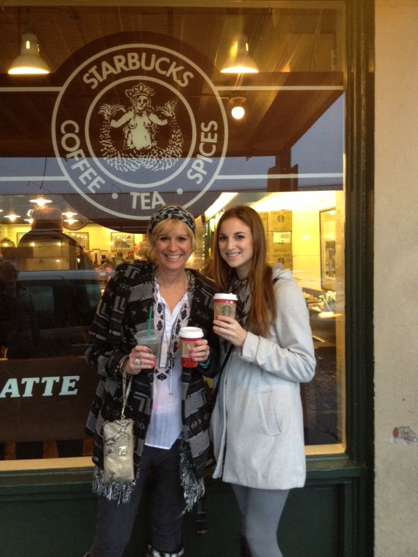 In front of the original Starbucks in Seattle with my mom