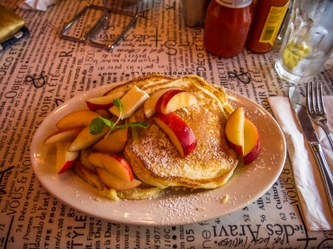 Lemony ricotta pancakes with seasonal fruit