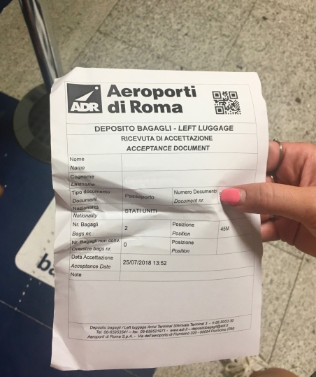 Left luggage ticket for Rome Airport