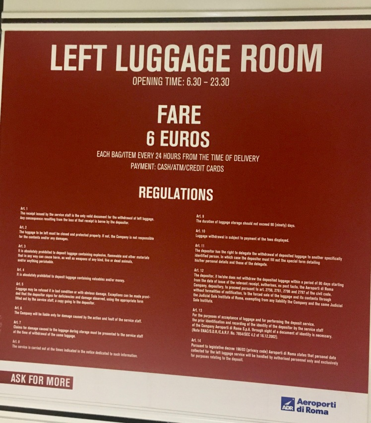 Luggage Storage Rome Airport Regulations. Left Luggage. go4theglobe