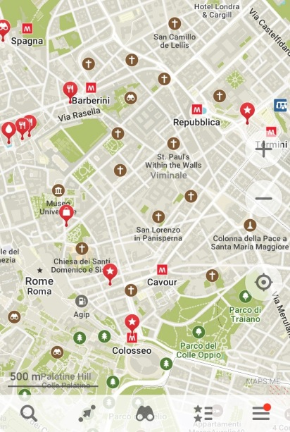 Maps.me map of Rome with locations saved for layover itinerary
