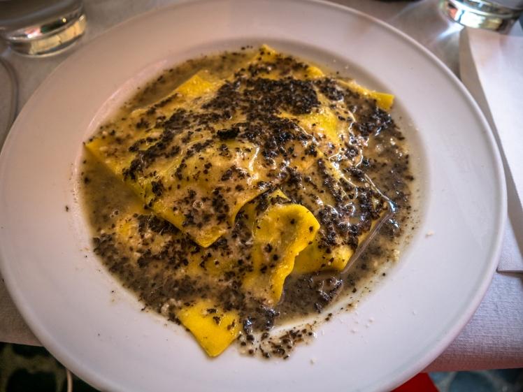 Ricotta Spinach Ravioli Truffle Sauce. Rome. Italian Food. go4theglobe.jpg