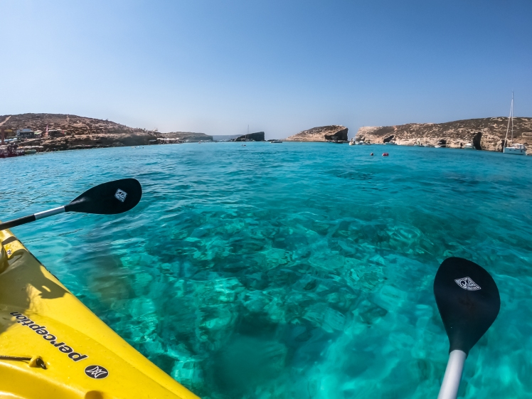 Kayaking in the Blue Lagoon in Comino early before the crowds arrive