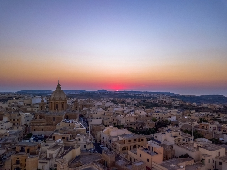 Drone shot of Nadur, Gozo at sunset