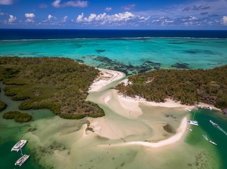 Drone shot of Ile Aux Cerfs island in Mauritius