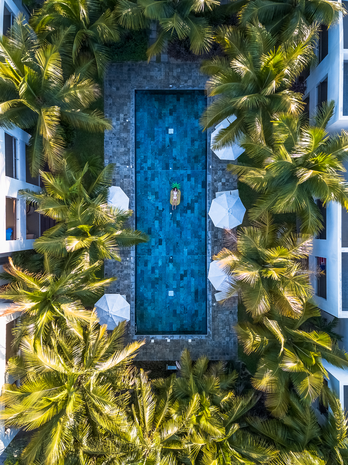 Drone shot of La Residence pool surrounded by palm tree (Horizon Holidays property)