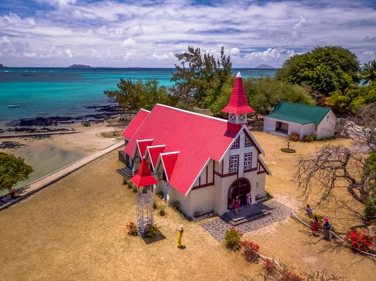 Famous Pink Roof Church on beach in Mauritius