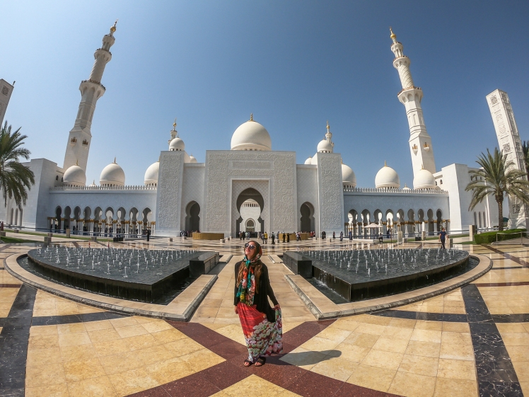 In front of Sheikh Zayed Grand Mosque
