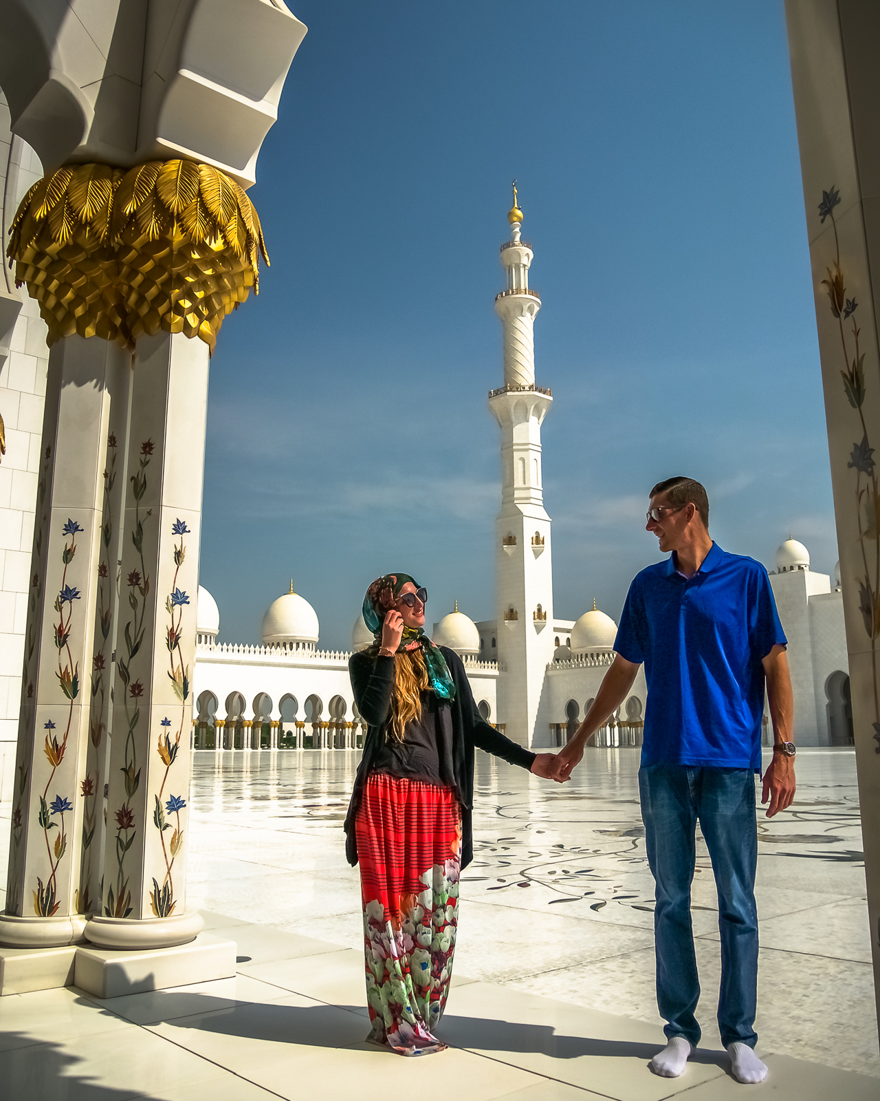 Inside the Sheikh Zayed Mosque in Abu Dhabi