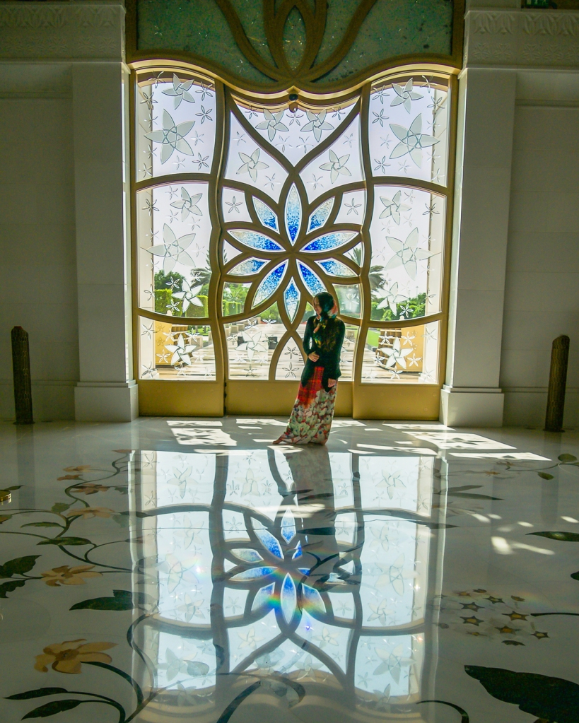 Stained glass inside the Sheikh Zayed Mosque