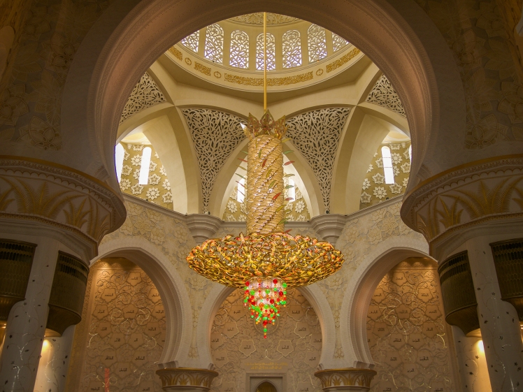 Chandelier inside the Sheikh Zayed Mosque