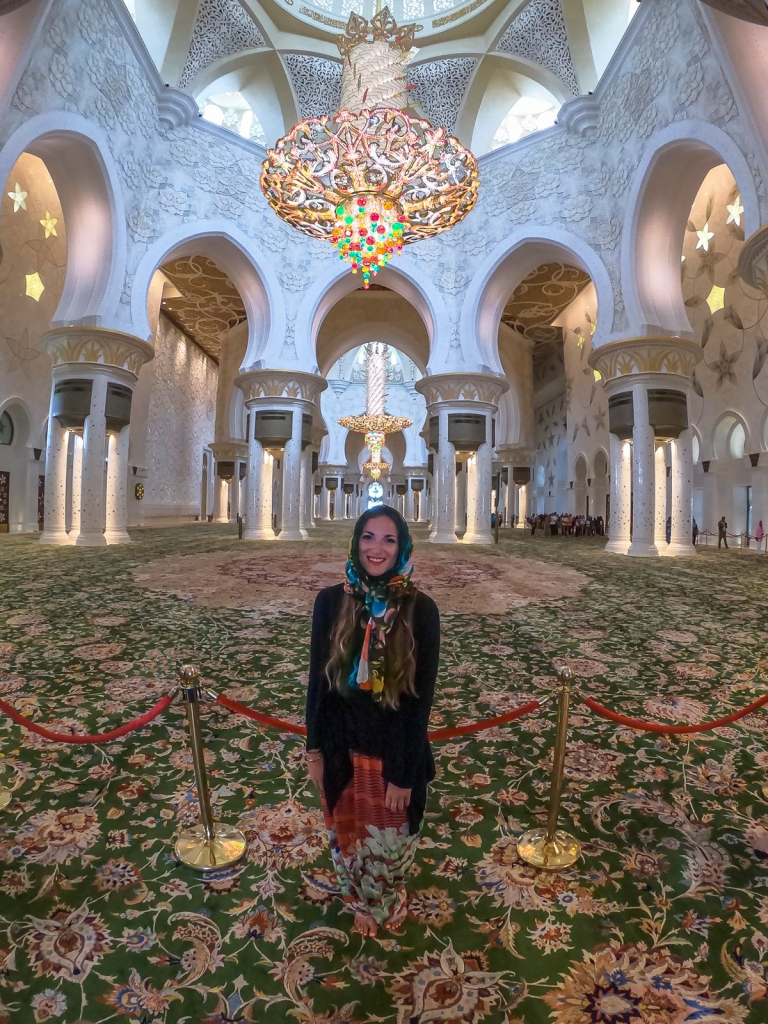 Krista inside Sheikh Zayed Mosque