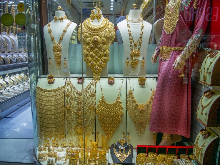 Gold necklaces on display in the Gold Souk