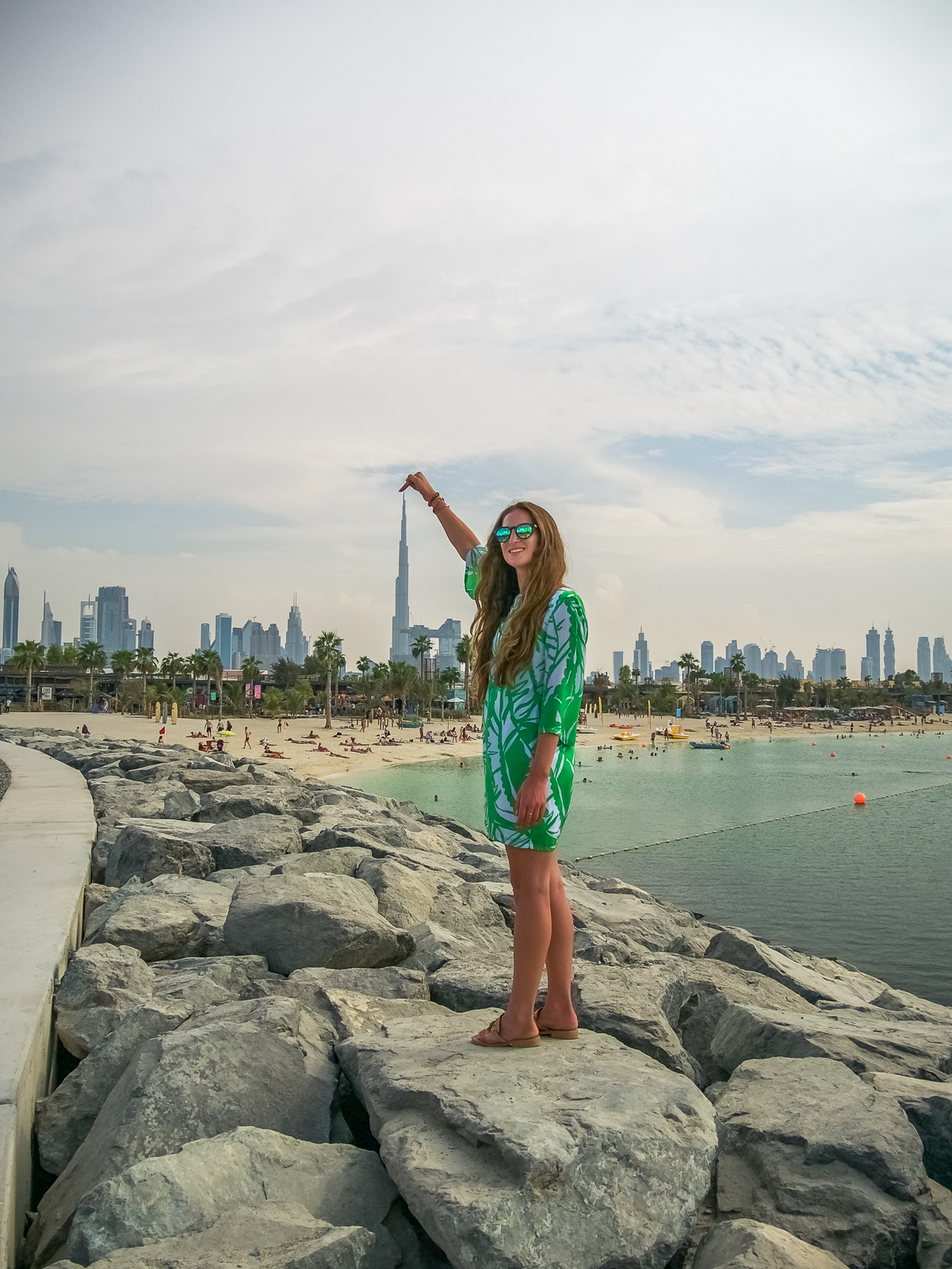 La Mer Beach with view of Burj Khalifa