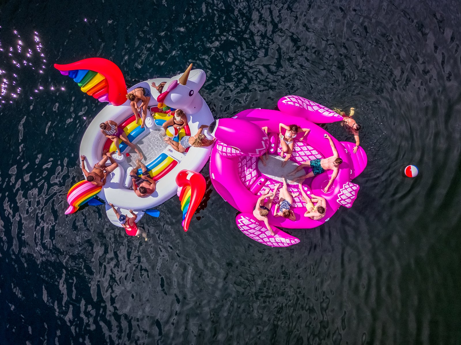 Drone shot of floats at my birthday party
