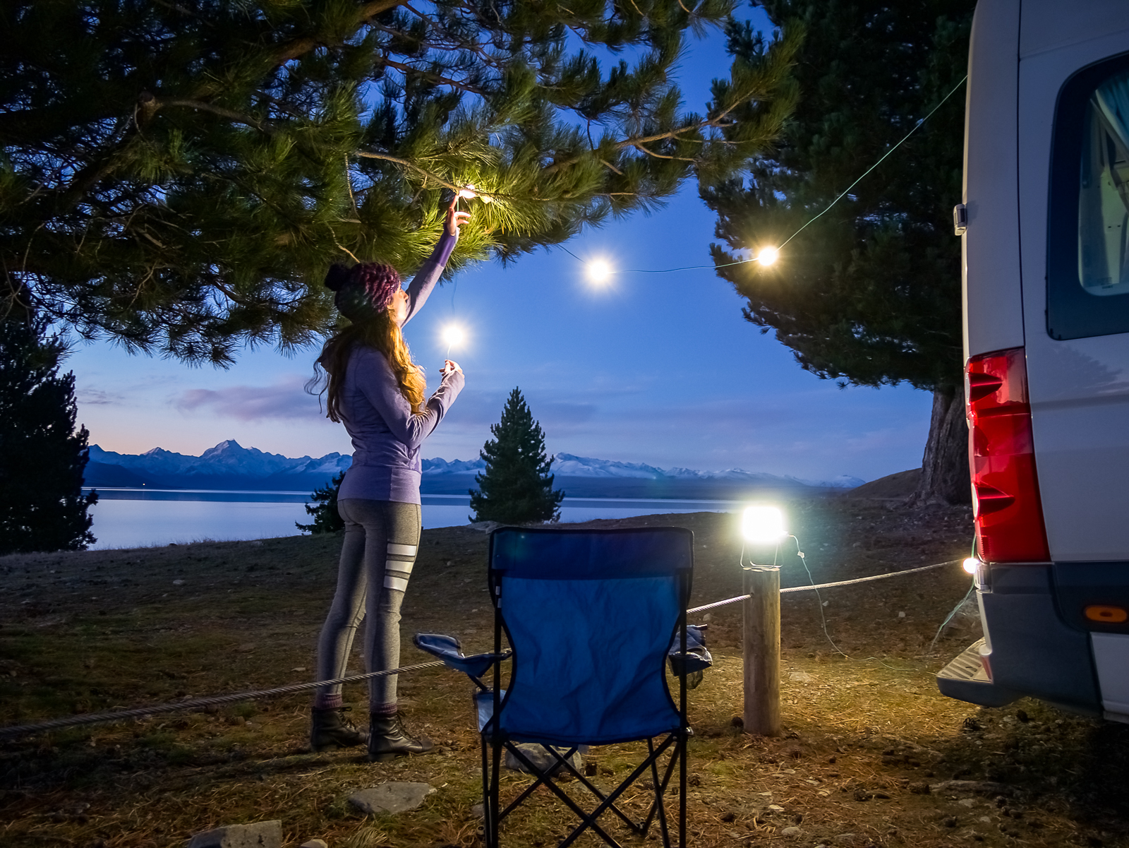 Lake Pukaki Campsite, night lights