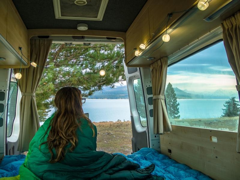 Inside camper van in New Zealand