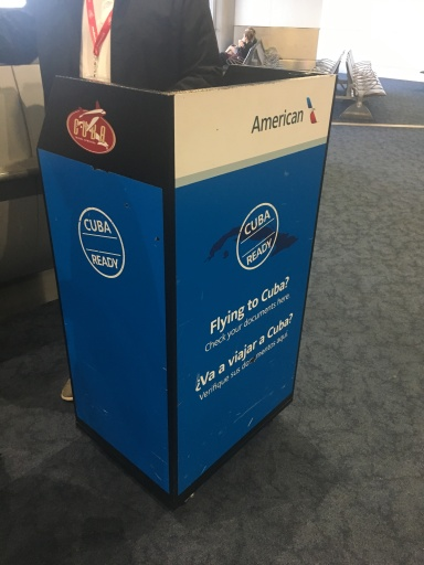 Cuba visa checkpoint in Miami Airport with American Airlines