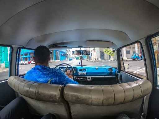Inside a taxi colectivo in Cuba