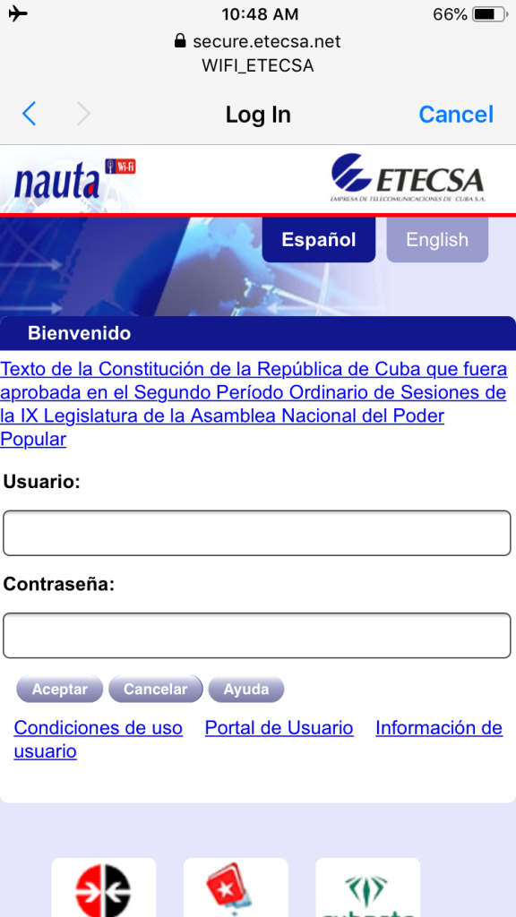Cuba WiFi Login