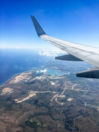 First view of Cuba from the airplane