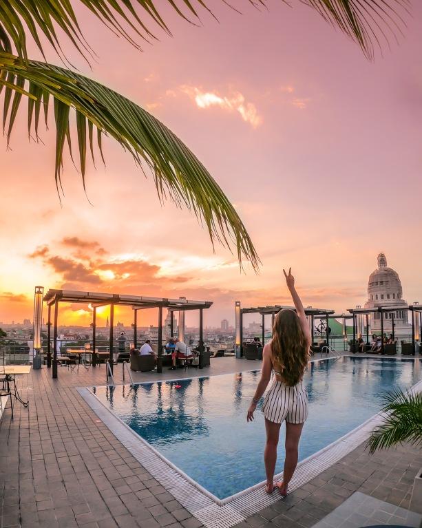 Rooftop pool at Hotel Saratoga in Havana